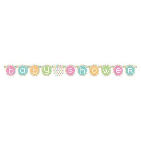 Baby Shower Unisex Jointed Banner Polka Dot Pastel Decorations Party