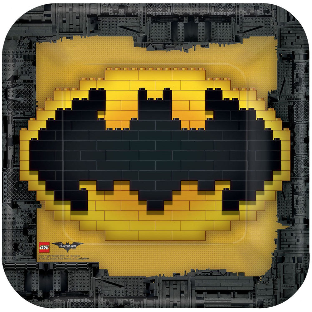 "Lego Batman 9"" Square Plates"