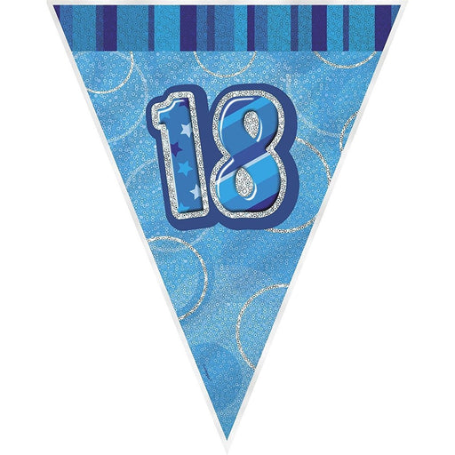 Blue Glitz Flag Banner Age 18 (special price of 42p) (Also Upstairs)