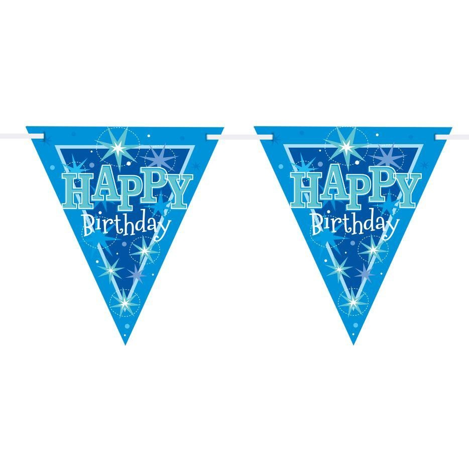 FLAG BANNER 160X190MM,  HAPPY BDAY BLUE SPARKLE
