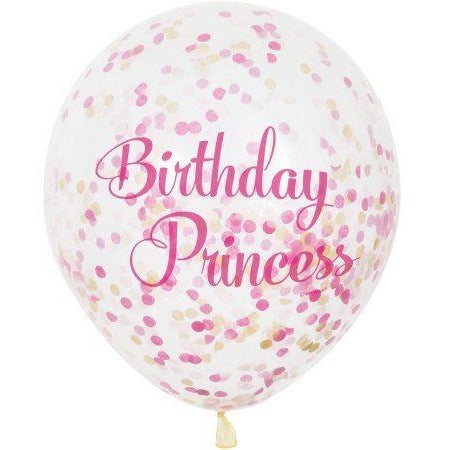 "12"" Clear & Pink Birthday Princess Confetti Filled Balloons"