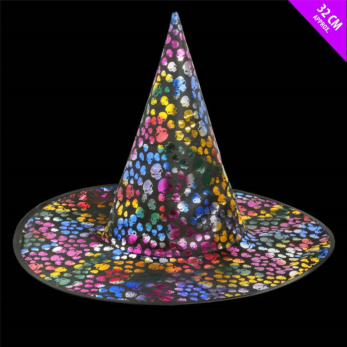 Multi Coloured Skull Witches Hat Halloween
