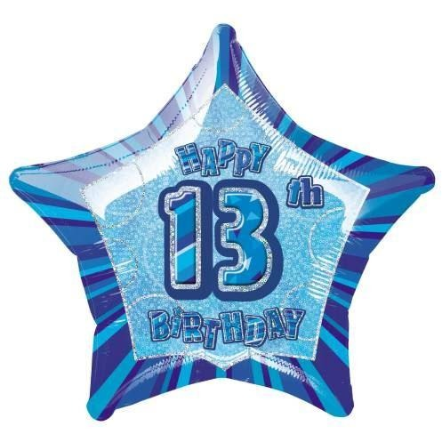 "Birthday Blue Glitz Number 13 Star Foil Balloon 20"", Packaged"