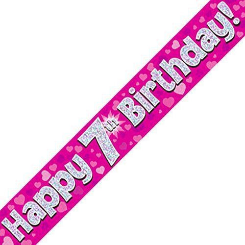 Pink Holographic Foil Birthday Age 7 Banner. Happy 7th Birthday Banner - Wholesale
