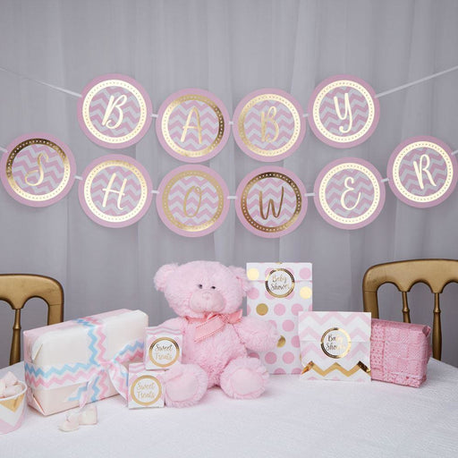 Pattern Works - Bunting - Baby Shower - Pink