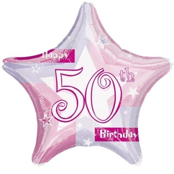 "19"" Star Happy 50th Birthday Pink Shimmer Balloon"