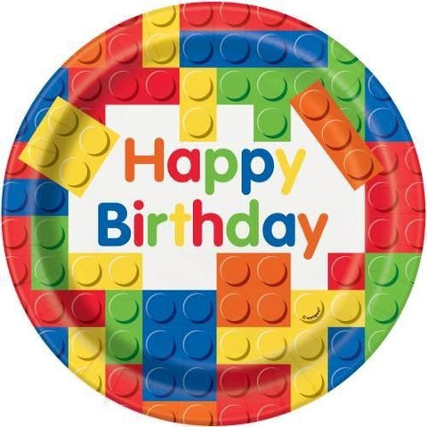 "Building Blocks Birthday Round 9"" Dinner Plates, 8ct"