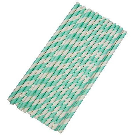 Paper Straws Stripes - Teal - 25 pack