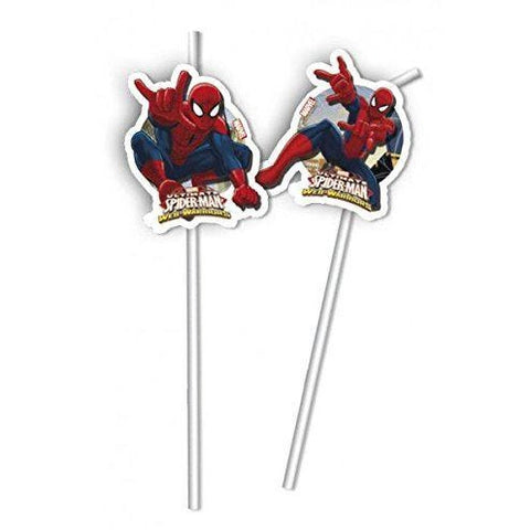 DRINKING STRAWS 6CT,  ULTIMATE SPIDER-MAN