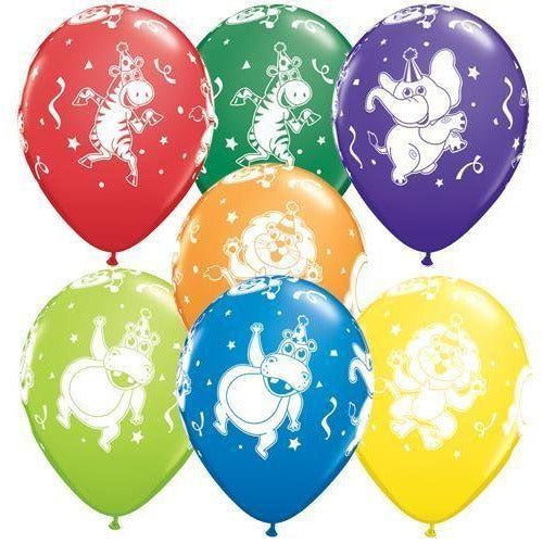 11''  Party Animals Latex Balloons x5