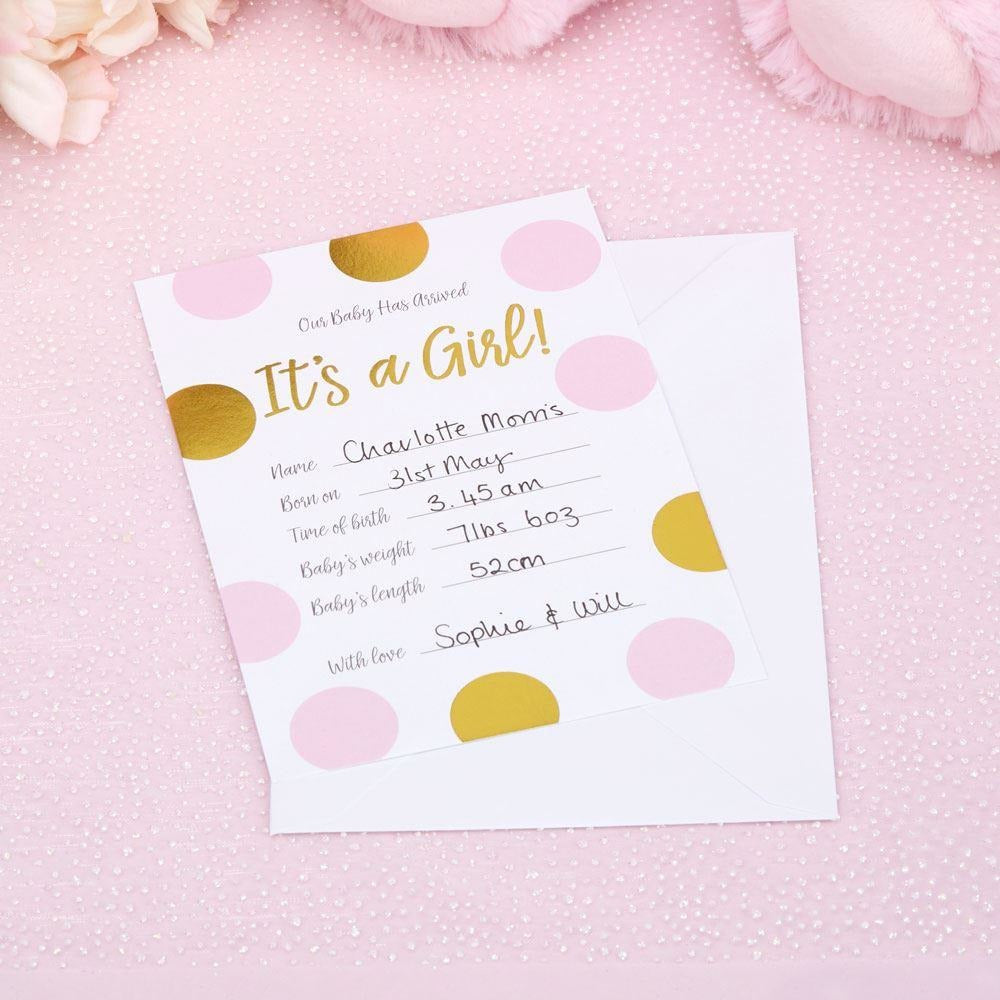 Pattern Works - Baby Announcement Cards with Envelopes Pink