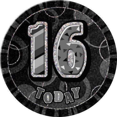 Birthday Black Glitz Number 16 Button Badge