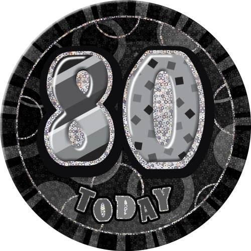 Birthday Black Glitz Number 80 Button Badge