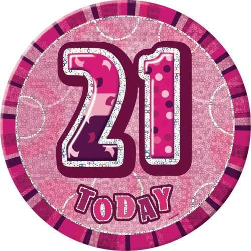 Birthday Pink Glitz Number 21 Button Badge