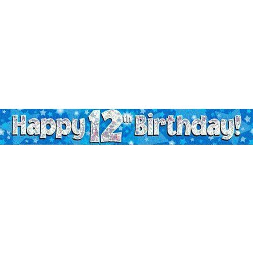 Blue Holographic Foil Birthday Age 12 Banner. Happy 12th Birthday Banner - Wholesale