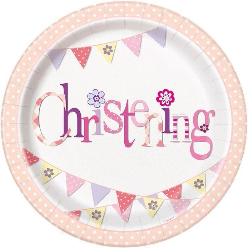 Unique girl christening plate