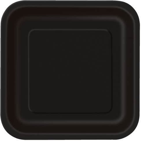 "Black Solid Square 9"" Dinner Plates, 14ct"