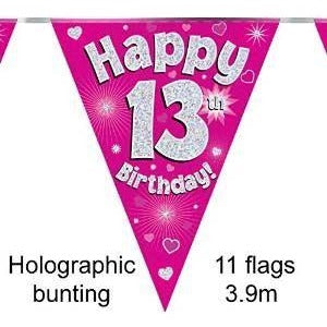 HAPPY 13TH BIRTHDAY PINK HOLOGRAPHIC BUNTING