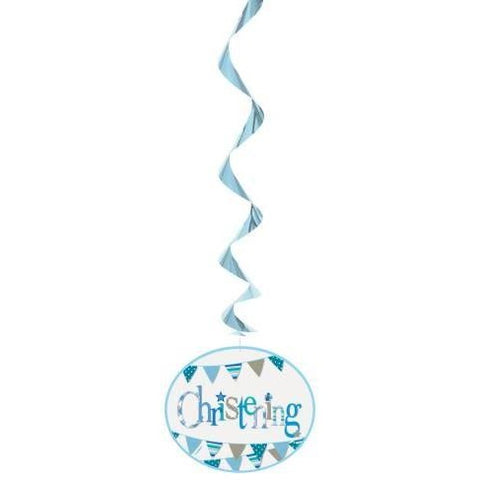 Unique boy christening hanging swirls