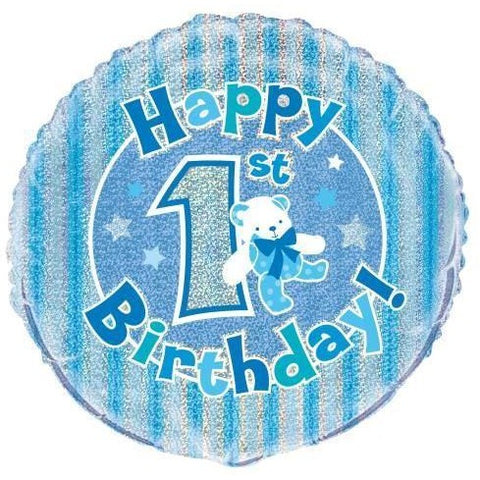 "1St Birthday Prism Round Foil Balloon 18"", Packaged - Blue"