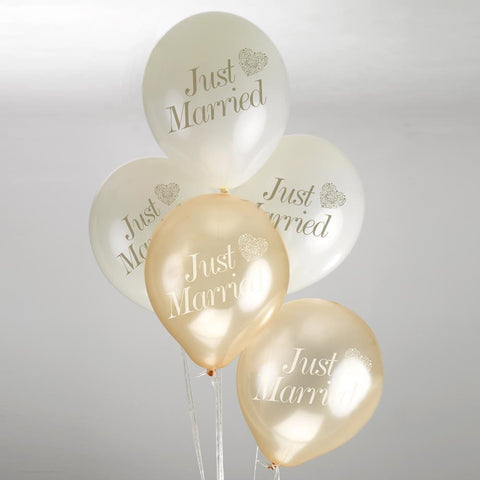 Vintage Romance Just Married Balloons Ivory/Gold