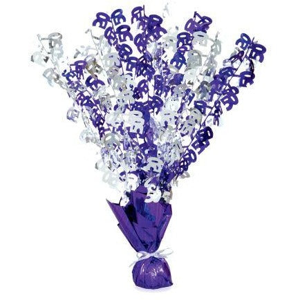 Purple & Silver Birthday Number 50 Centerpiece
