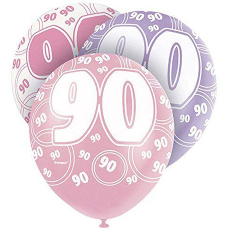 Pink Glitz Latex Balloons Age 90 (Special price of 65p)