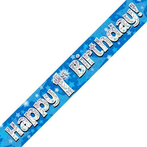 Blue Holographic Foil Birthday Age 1 Banner. Happy 1st Birthday Banner - Wholesale