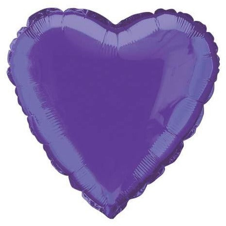 "Solid Heart Foil Balloon 18"", Packaged - Deep Purple"