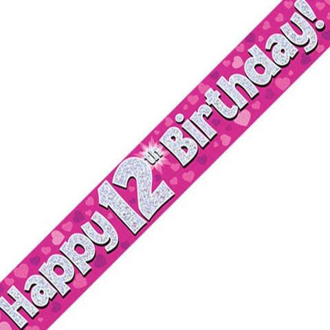 Pink Holographic Foil Birthday Banner Age 12. Perfect for a 12th Birthday Party - Wholesale
