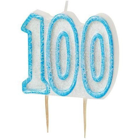 Birthday Blue Glitz Number 100 Numeral Candles