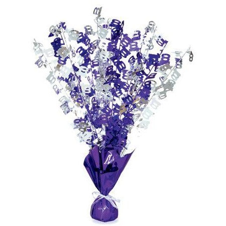 Purple & Silver Birthday Number 100 Centerpiece