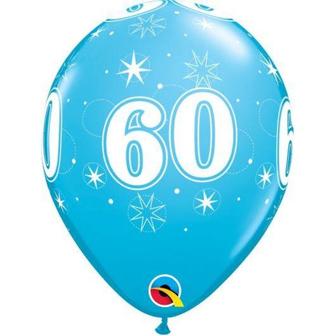 "11"" Round Robin's Egg 60th Birthday Sparkle Balloons"