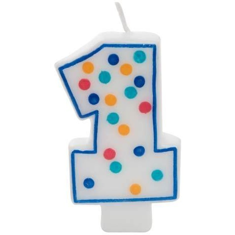 Number 1 Polka Dot Birthday Candle