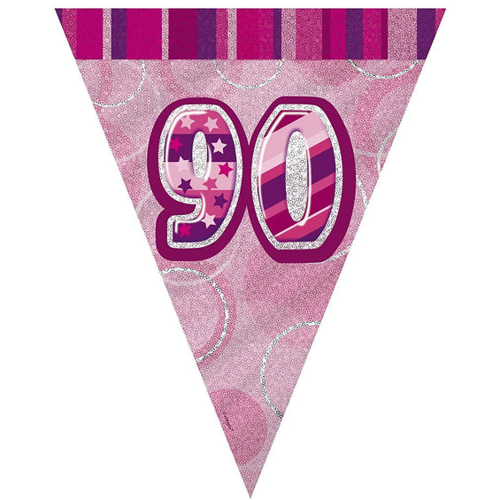 Pink Glitz Flag Banner Age 90 (9ft) (special price of 42p) (Also Upstairs)