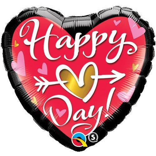"18"" Happy Day Heart Valentine's Day Foil Balloon Qualatex"