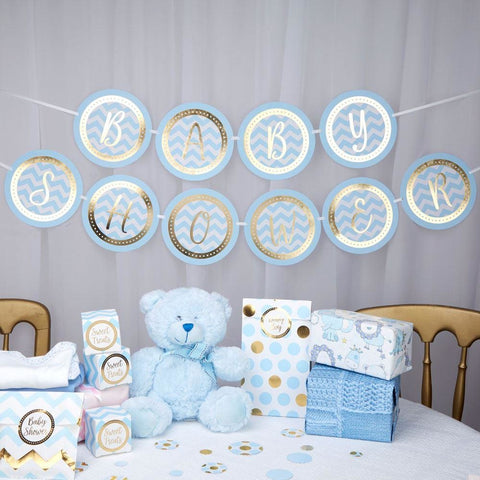Pattern Works - Bunting - Baby Shower - Blue