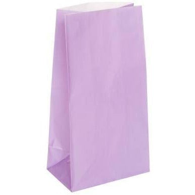 Lavender Paper Party Bags, 12ct (special price of 52p when ordered in 72) (Also Upstairs)