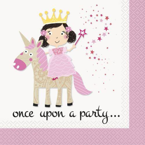 16 Pink Princess Unicorn Lunch Napkins