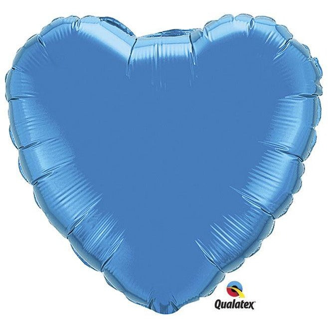"Qualatex Heart Shape Blue Foil 18"" (unpackaged)"