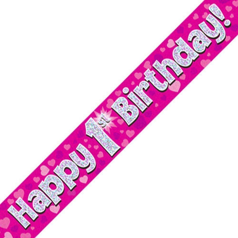 Pink Holographic Foil Birthday Age 1 Banner. Happy 1st Birthday Banner - Wholesale