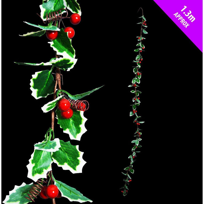Christmas 1.3m Fine Holly Garland