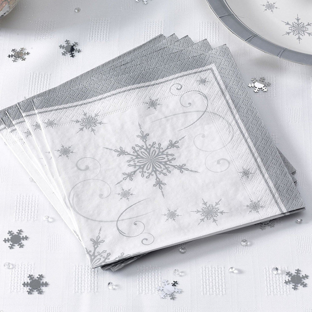 Snowflake - Place Card on Glass Silver