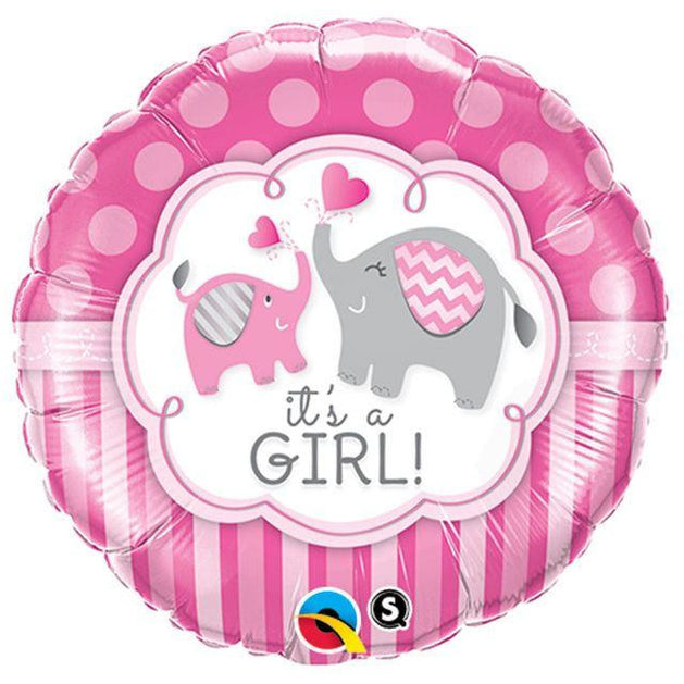Qualatex It's A Girl Elephants Foil 18""