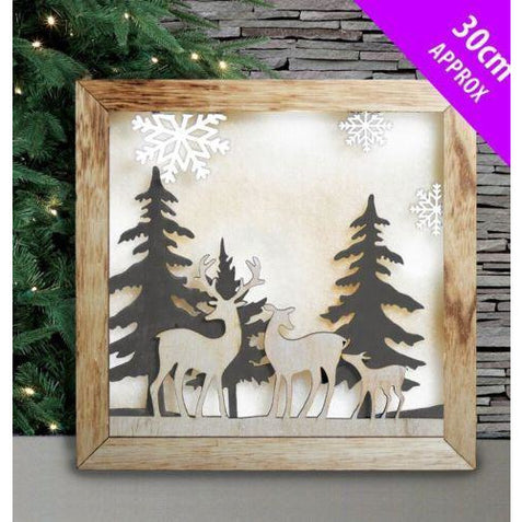 Wooden Light Up Natural Tree Reindeer Scene 30CM Davies Christmas