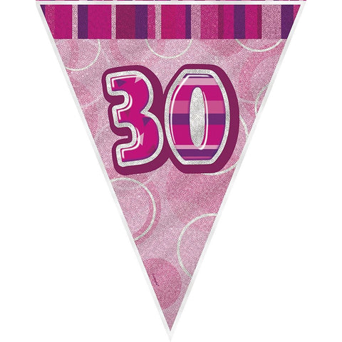Pink Glitz Flag Banner Age 30 (9ft) (special price of 42p) (Also Upstairs)