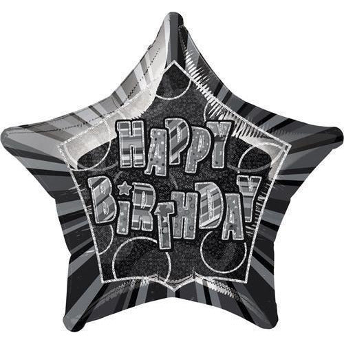 20'' Pkg Black Star Prism Happy Birthday Balloon