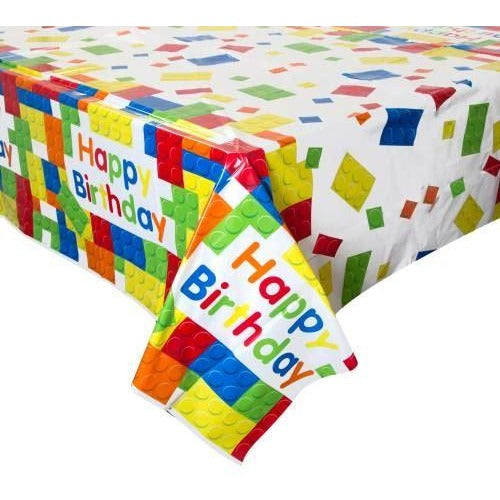 "Building Blocks Birthday Rectangular Plastic Table Cover, 54""x84"""