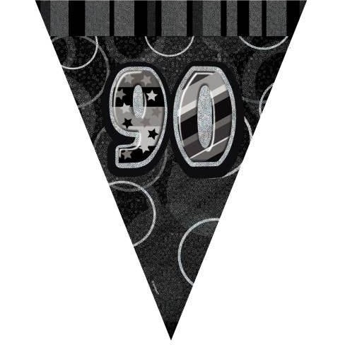 Birthday Black Glitz Number 90 Flag Banner, 12 Ft (special price of 42p)