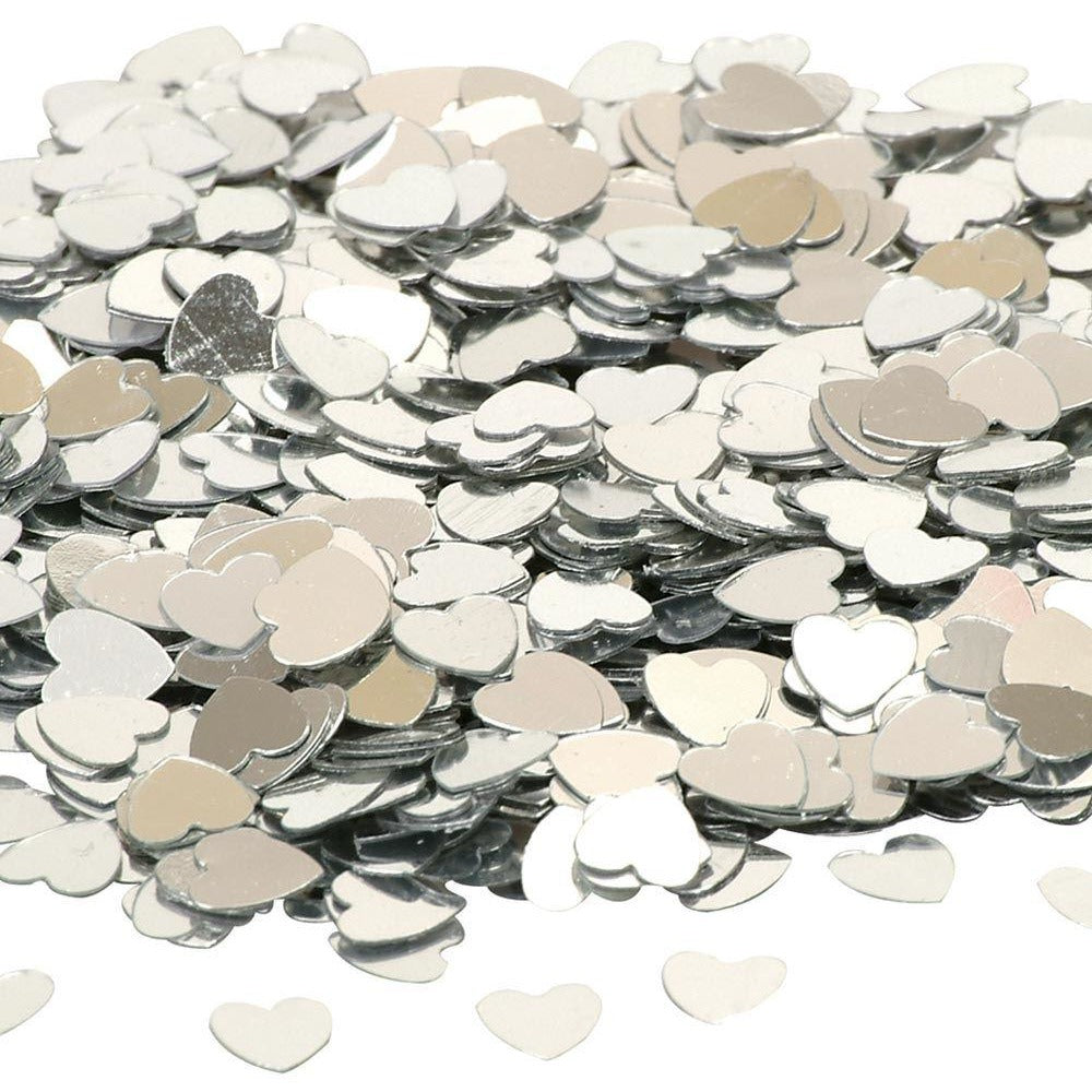 Confetti - Small Hearts Silver Pack of 10